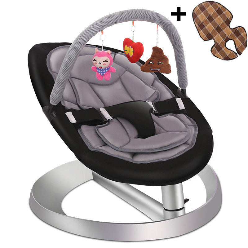 Us 103 17 23 Off Baby Rocking Chair With Toy Rack And Double Seat Cushion Toddlers Recliner Chair Infant Swing Cradle Baby Rocker Chair In