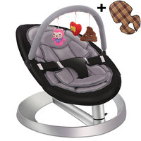 Baby Rocking Chair with Toy Rack and Double Seat Cushion, Toddlers Recliner chair, Infant Swing Cradle, Baby Rocker Chair