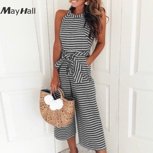 MayHall Stripe Print Bandage Jumpsuits Backless Halter Sleeveless Rompers Womens Jumpsuit Sexy Holiday combinaison femme MH276