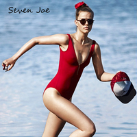 Seven Joe One Piece Suits Zipper Swimsuit Bikini Set Bathing Suit Women Sport Suit Rash Guard Vest Style Bikinis Set Female