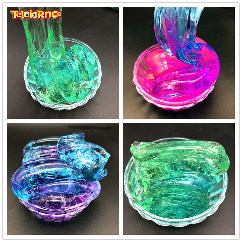 DIY Clear Slime Toys Crystal Mud Fluffy Slime Glue Gradient Color Cloud Slime Supplies Magic Sand Antistress Putty Clay