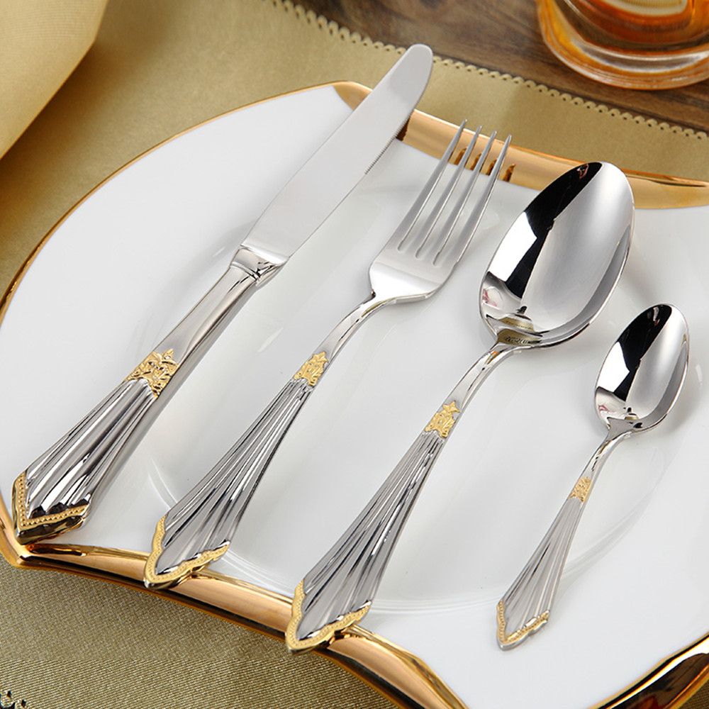 The new silver tableware stainless steel tableware high quality fork spoon tableware utensils cutlery sets