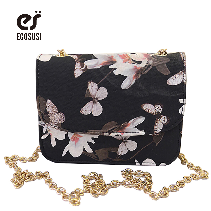 ECOSUSI Floral Print Women Leather Handbags Long Strap Ladies Handbags Bling Chain Women Messenger Bag Mini Lovely Shoulder Bag