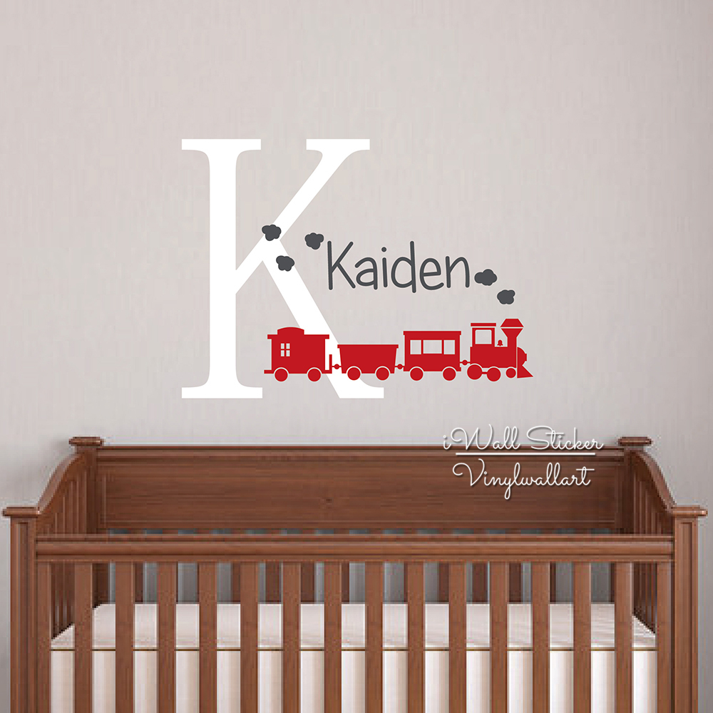 Baby Nursery Name Wall Sticker Children Name Train Wall Decal Boys Name Wall Decor Easy Wall Kids Room Removable Cut Vinyl C49