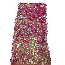 Новый французский в нигерийском стиле блестки чистая кружева, африканский тюль сетка последовательность кружевной ткани высокого качества для вечернее платье 5 ярдов/партия HJ659-2