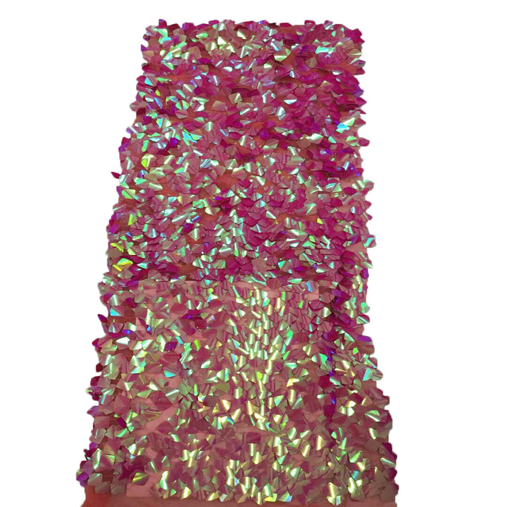 Nouveau Français Nigérian paillettes net dentelle, africain tulle maille Séquence dentelle tissu de haute qualité pour robe de soirée 5 yards/lot HJ659-2