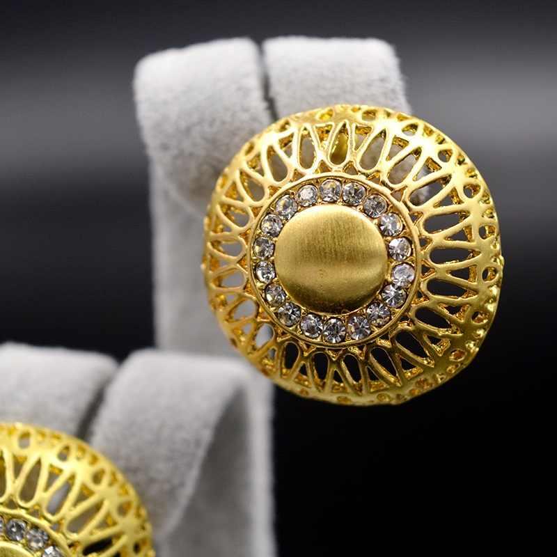 Bijoux ensoleillés Maxi Dubai ensembles de bijoux pour femmes collier boucles d'oreilles pendentif en alliage Zircon fleur ronde luxe Dubai bijoux cadeau