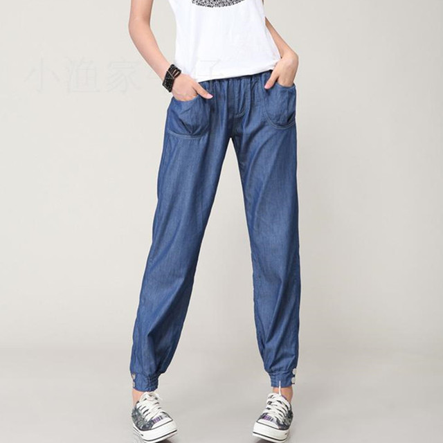 2015 Summer New Thin Funds Breathable Cool Tencel Jeans Wide Leg Pants Big Yards Elastic Waist Pants For Women Plus size CK008