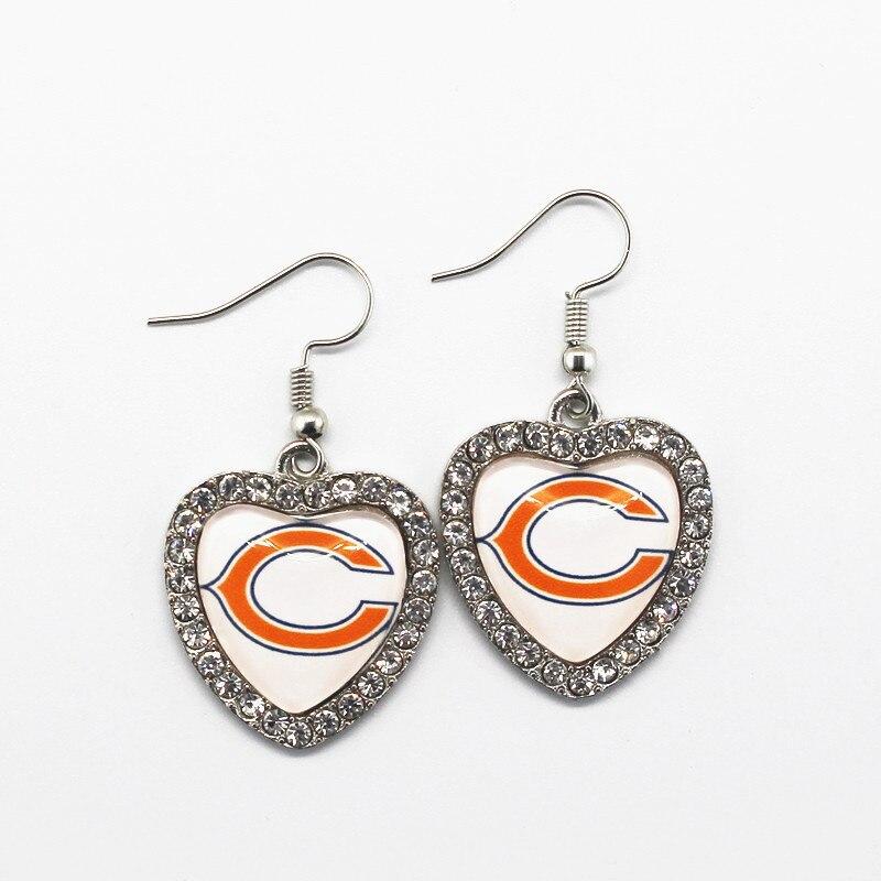 5 пара/лот хрустальное сердце Chicago Bears Серьги для Для женщин Модные украшения Футбол спортивные Серьги Для женщин ювелирные серьги