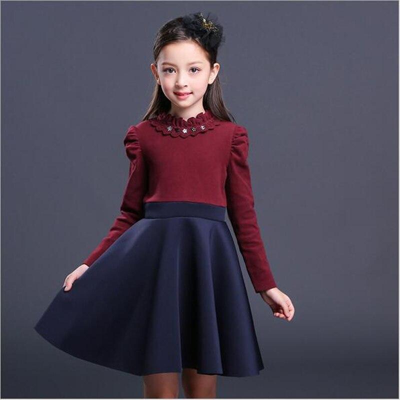 9d86f2d3e2b2 Skup Tanie Dzieci Dziewczyny Sukienka Jesien Zima Dziecko Bawelna