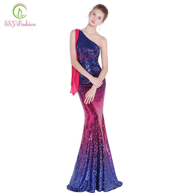 SSYFashion, новинка, сексуальное платье русалки для выпускного вечера, тонкое, на одно плечо, градиентное, с блестками, красное, с синим, рыбий хвост, вечерние платья