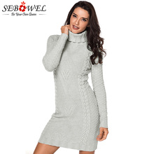 SEBOWEL 2019 Jumper Turtleneck Knitted Sweater Dress Women Winter Casual Slim Bodycon Long Sleeve Mini Dress Pullover Female цена