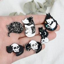 Bruxa gato pinos preto e branco yin yang lua e estrela abraçando gato dormindo kitty broche bruxaria jóias magia lapela pinos