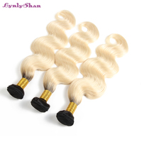 Lynlyshan Hair 1B/613 Indian Body Wave Hair 1/3 Bundles Dark Roots Ombre Light Blonde Bundles Remy Human Hair Extension