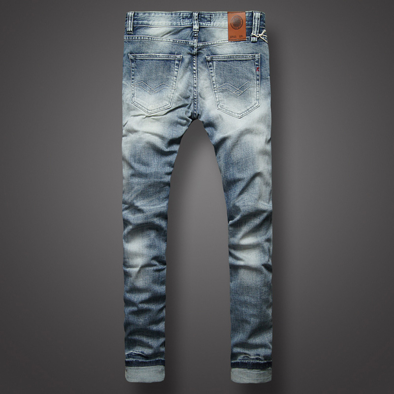 Italian Style Fashion Mens Jeans High Quality Slim Fit White Wash Light Blue Color Denim Jeans Men Brand Classic Buttons Pants in Jeans from Men 39 s Clothing