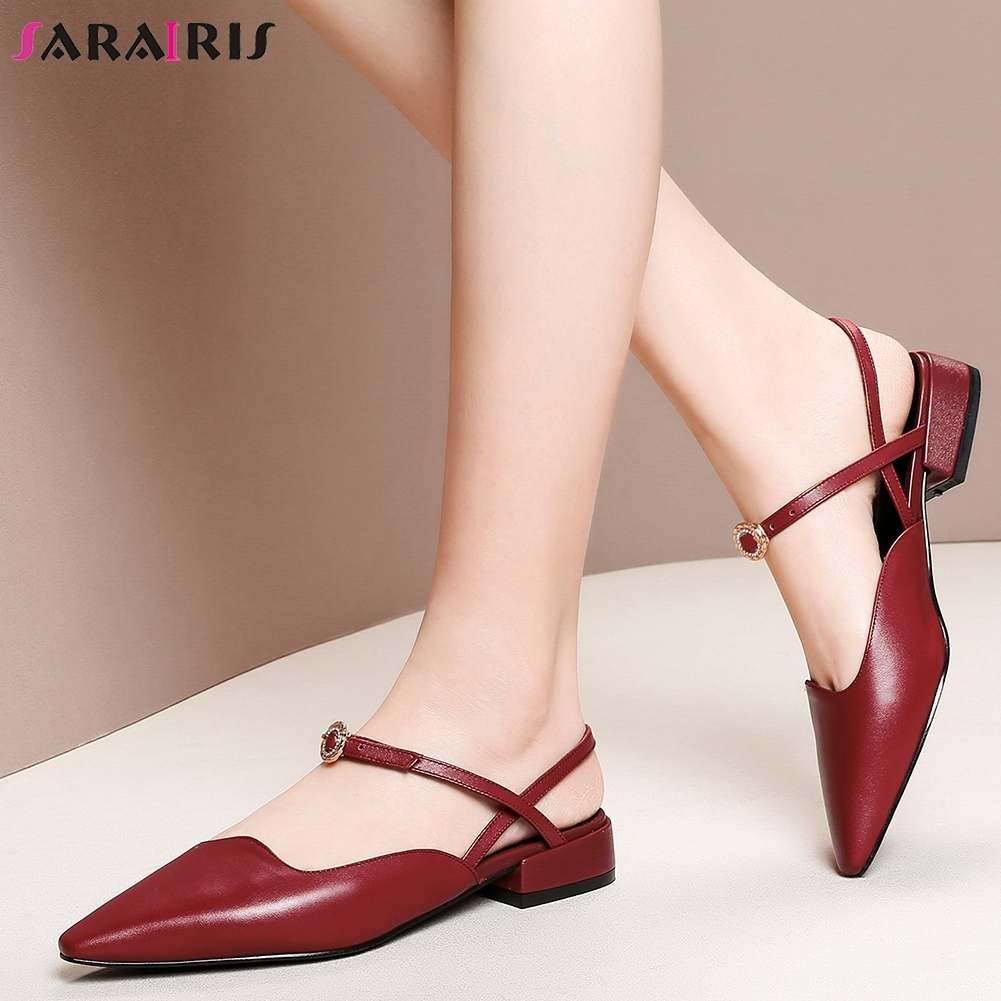 SARAIRIS 2019 Large Size 33 43 Genuine Cow Leather Chunky Heels Casual Shoes Woman Sandals Buckle