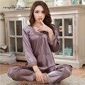 Buena calidad de las mujeres dormir y descansar desgaste Gran tamaño M-XXXL suave transpirable sólido marrón pijama de manga completa traje de casa con bow-tie