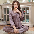 Good quality women sleep & lounge wear Big size M-XXXL soft breathable solid brown pijama full sleeve home suit with bow-tie