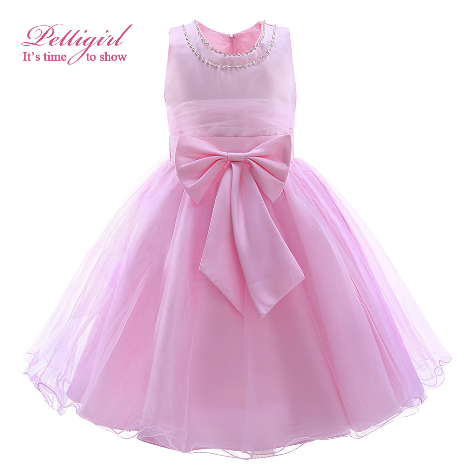 Elegant girl dress girls 2016 summer fashion pink big bow for Wedding dresses for girl