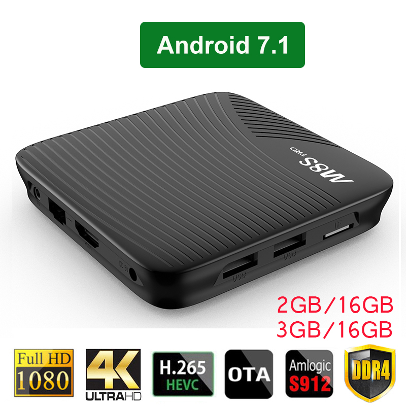 Android 7.1 TV Box M8S PRO 2GB DDR4 16GB EMMC 3GB 16GB Amlogic S912 64 bit Octa core 2.4G/5G WiFi H.265 4K VP9 Smart Set Top Box high voltage flyback transformer for co2 50w laser power supply