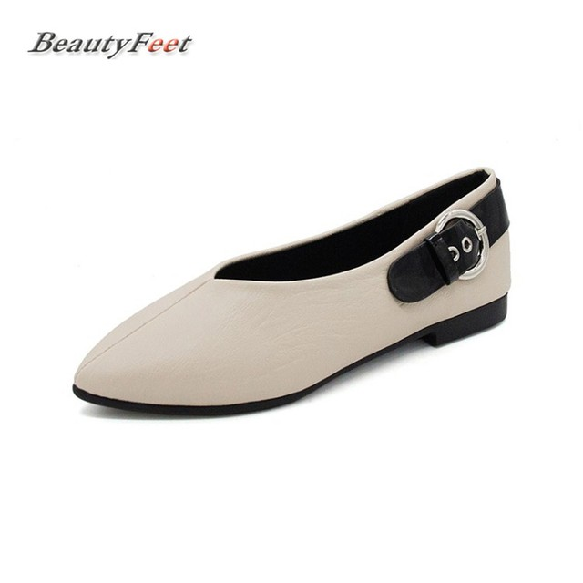 BeautyFeet 2017 New Women Shoes Woman Solid Pointed Toe Shallow Mouth  All-match Single Square Low Heels Leisure Shoes Female dbde70307e44