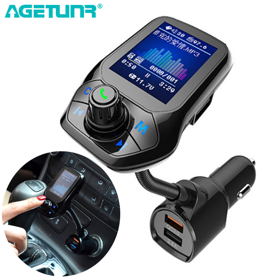 "AGETUNR 1.8"" TFT Display Bluetooth Car Kit Handsfree Set QC3.0 Quick Charge FM Transmitter MP3 Player USB Flash TF AUX In/Out"