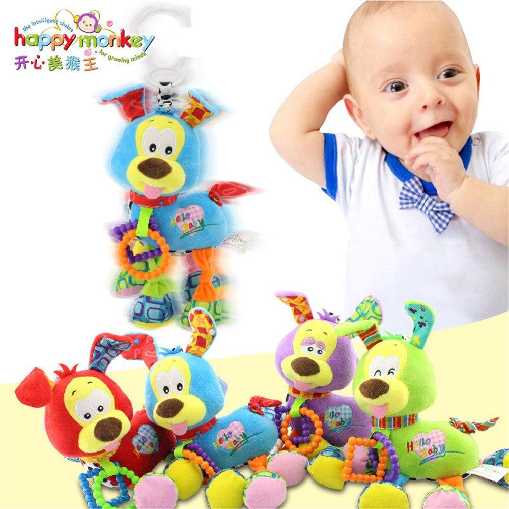 Happy Monkey Baby Bed stroller Hanging Dog Plush vibration Toy Rattle Teether newborn baby Multifunction Educational Toy thumbnail