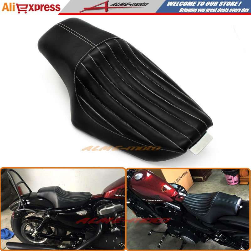 Motorcycle Driver Front Rear Passenger Seat Two Up Seat Black For Harley Sportster XL883 XL1200 Iron 48 72 , Custom 2010-2016