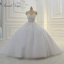 أماندا تصميم حمالة انظر من خلال الدانتيل يزين الكرة ثوب الزفاف