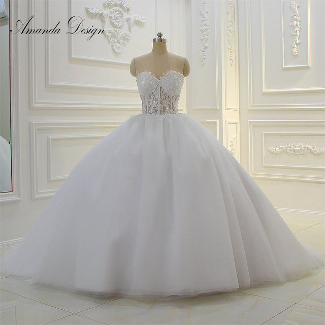 Amanda Design Strapless See Through Lace Appliques Ball Gown Wedding Dress