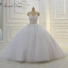 Amanda Projeto Strapless Ver Através Do Laço Apliques vestido de Baile Vestido de Casamento