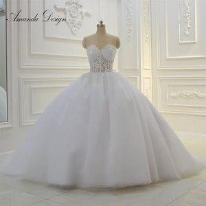 Image 1 - Amanda Thiết Kế Strapless Xem Qua Ren Appliques Bóng Gown Wedding Dress