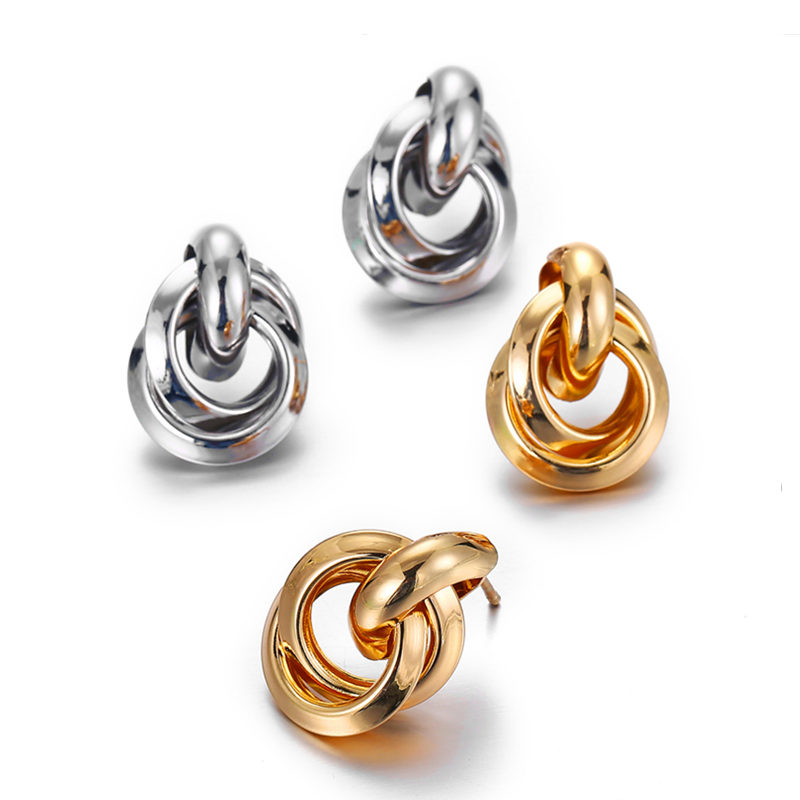 EK338 New Gold Silver Color Knotted Stud Earrings For Women Classic Twisted Small Earrings Cute Solid Statement Jewelry
