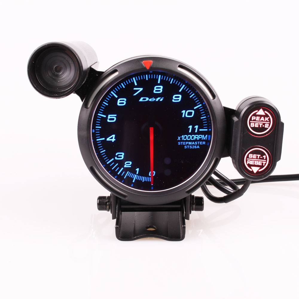 Defi 3 75 Inch 80mm 7 Colors 0-11000 RPM Stepper Motor Tachometer RPM Gauge  with Shift Light for Auto Car
