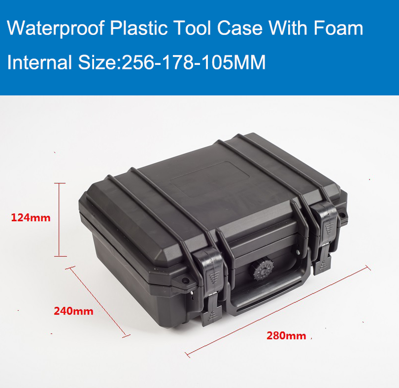 Waterproof tool Case with foam for Camera Equipment Carrying Case Black Plastic sealed safety portable tool box free shipping puluz waterproof dual layers portable carrying case stocker box for gopro hero5 black edition 4 3 3 2 1 xiaoyi size 28x25x16cm