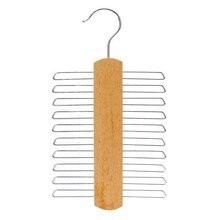 Аксессуары для одежды деревянный дом прочный экологически чистый шкаф с двумя бортами с поясом шарф галстук вешалка с металлическими крючками 20 горизонтальных крючков
