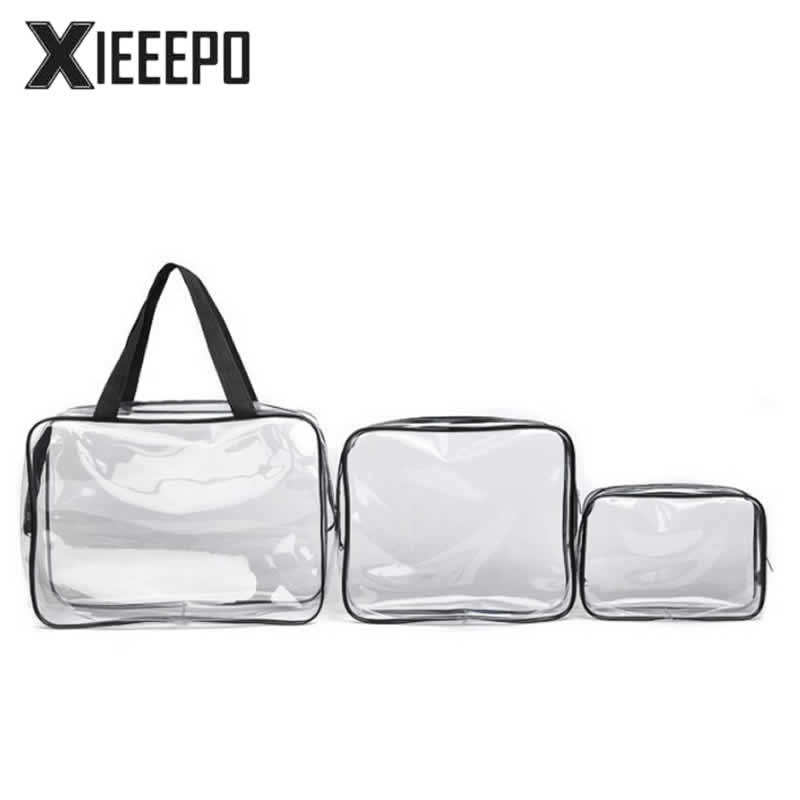 3pcs Transparent Clear Cosmetic Bags Waterproof PVC Makeup Bags Travel Organizer Beauty Case Toiletry Bag Bath Wash Make Up Box pvc transparent wash portable organizer case cosmetic makeup zipper bathroom jewelry hanging bag travel home toilet bag