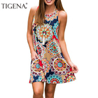 TIGENA Women Summer Dress 2018 Unique Print Sleeveless Sundress Women Summer Boho Bohemian Beach Dress Shirt Ladies Robe Femme
