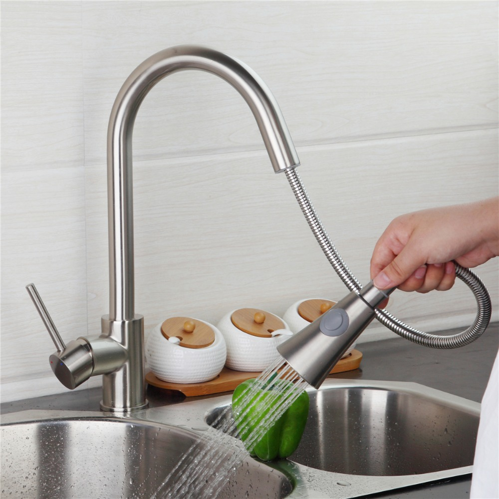 Kitchen Faucet Single Handle Swivel Pull Out Dual Spout Swivel Vessel Sink Mixer Tap Deck Mounted Kitchen Faucet Mixer Tap free shipping high quality chrome brass kitchen faucet single handle sink mixer tap pull put sprayer swivel spout faucet
