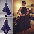 Vintage High Collar Elegant Evening Dress Tea Length Short Hi Lo Two Pieces Prom Dresses 2017 Black Satin Party Gowns