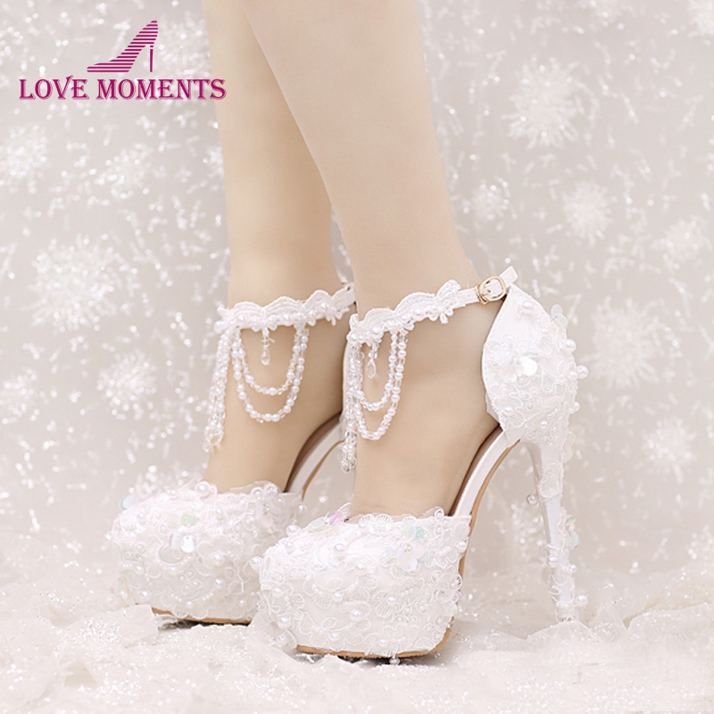 Beautiful Red And White Wedding Dress: New Design Ankle Strap Heels White And Red Lace Bridal