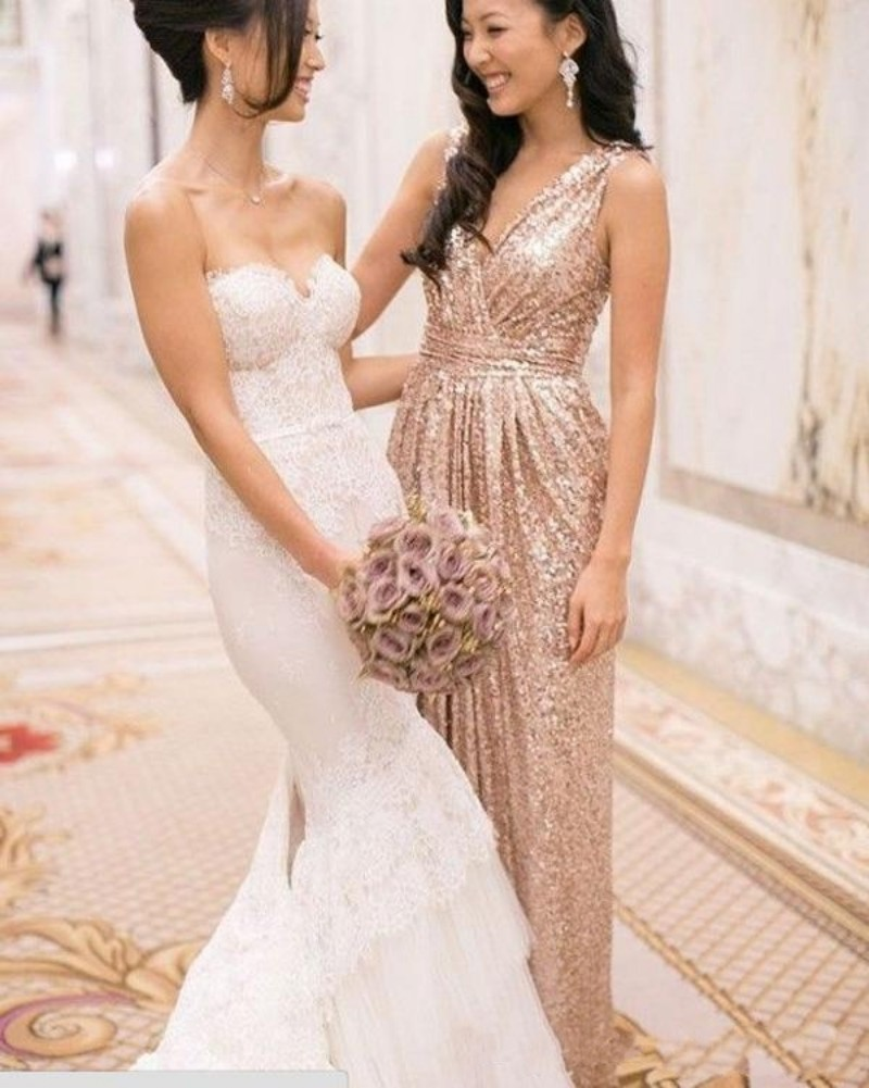 16c878c7339 Sequin Bridesmaid Dress 2016 V Neck Ruched Sheath Modest Champagne Gold  Cheap Wedding Party Long Prom Pregnant Evening Gown-in Prom Dresses from  Weddings ...