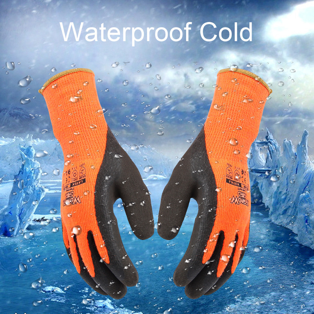 Anti-Cold High Visibility nylon Latex Coated Work Gloves Anti-skid Wear Resistant Soft and Comfortable M L XL Garden Supplies