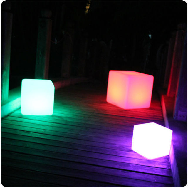 25cm Party Event Illuminated Cube Chair Led Light Up Outdoor Furniture Seat