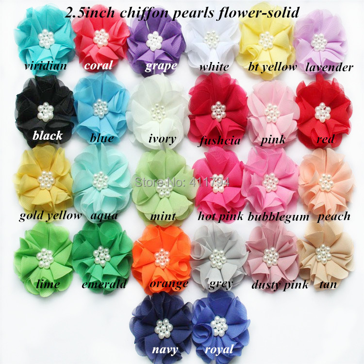 180pcs lot 2 5 hair accessories Beaded Chiffon Flower Pearl Chiffon 17colors for selection