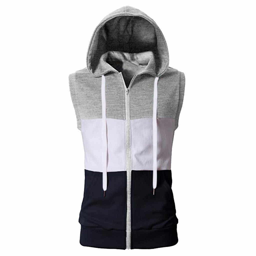 Mode mannen Zomer Casual Mixing Colour Zip Hooded Mouwloos Vest Top Blouse Mannen Top Tank Mouwloze Hoodie Mannen Ropa hombre