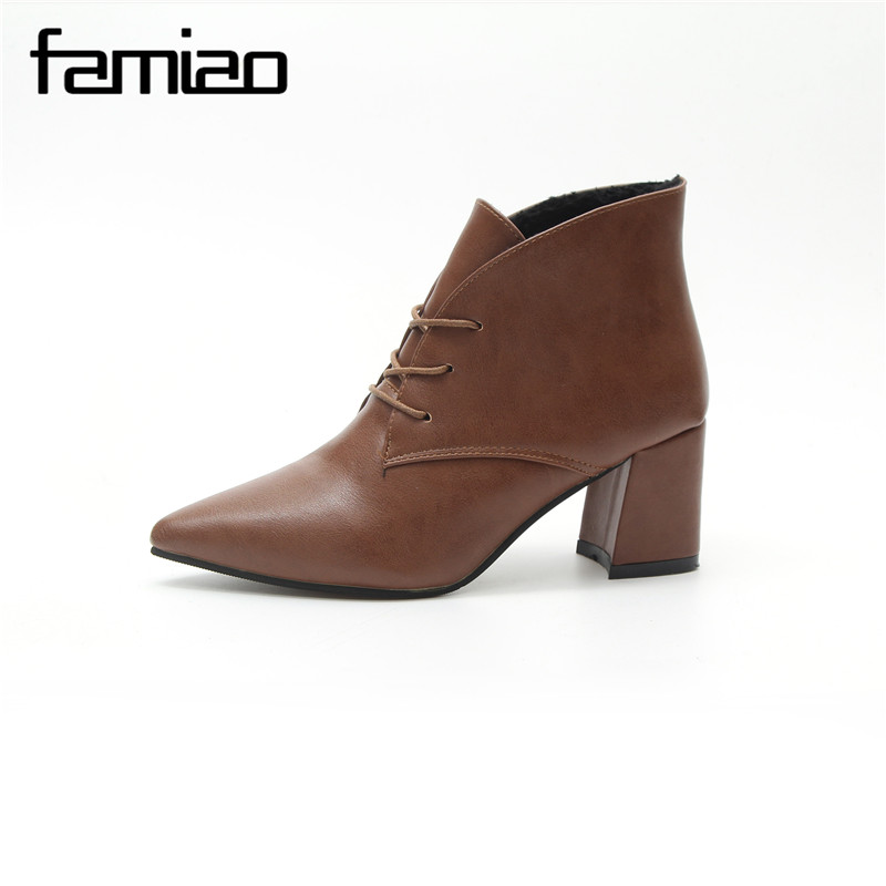 FAMIAO Women Boots Spring Ankle Boots High Heel Pointed Toe Sexy Office Party Ladies Shoes Rome Lace Up 2017 Fashion Boots fashion pointed toe lace up mens shoes western cowboy boots big yards 46 metal decoration