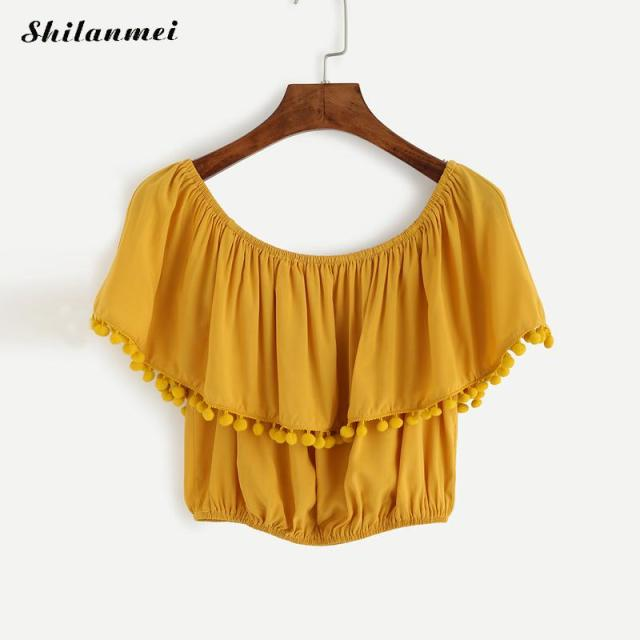 6db7bdb3822 2018 Summer Sexy Yellow Off Shoulder Blouse Women Top Ruffle Tunic Short  Shirt Women Female Ladies