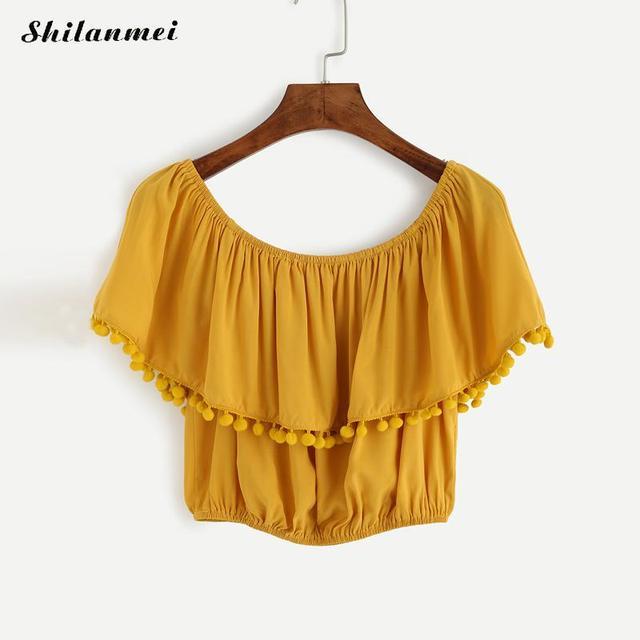 1915681f8e4d19 2018 Summer Sexy Yellow Off Shoulder Blouse Women Top Ruffle Tunic Short  Shirt Women Female Ladies