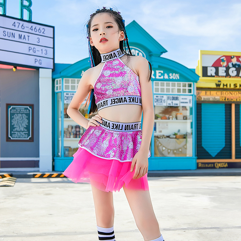 New Girls Jazz Dance Costume Kids Hip Hop Practice Clothes Children Street Dance Stage Performance Pink Sequin Costume DQL1622